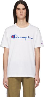 Champion Reverse Weave White Embroidered Script Logo T-Shirt