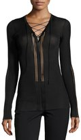 Roberto Cavalli Laced V-Neck Sheer-Panel Sweater, Black