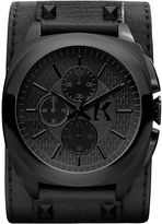 Karl Lagerfeld Watch, Women's Chronograph Black Leather Cuff Strap 46mm KL1606