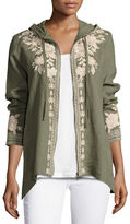 Johnny Was Carmelita Linen Hooded Zip-Front Jacket