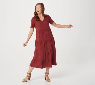 Denim & Co. Naturals Textured Knit Tiered Midi Dress