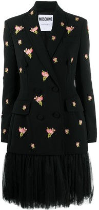 Moschino Tulle Skirt Floral Embroidered Dress