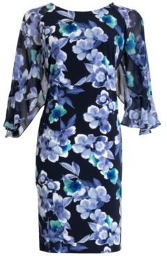 Connected Floral-Print Sheer-Sleeve Dress