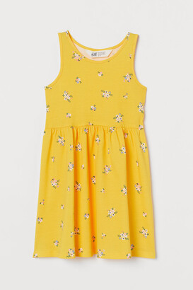H&M Patterned Jersey Dress - Yellow