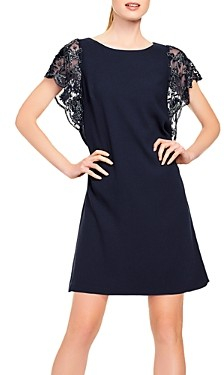 Aidan Mattox Embroidered-Sleeve Cocktail Dress