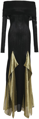 Roland Mouret Off-the-shoulder Draped Plisse Silk-blend Gown