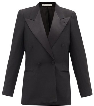 Umit Benan B+ - Double-breasted Satin-lapel Twill Tuxedo Jacket - Black