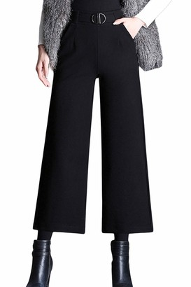 Zilcremo Women Loose High Waist Cropped Palazzo Wool Full Length Suit Pants Black1 L