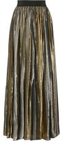 Alice + Olivia Tabetha Pleated Silk-Blend Lamé Maxi Skirt