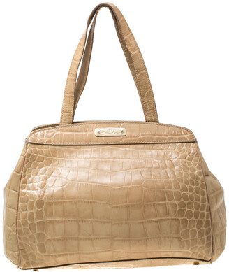 Aigner Beige Croc Embossed Leather Tote