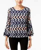 Alfani Petite Printed Bell-Sleeve Top, Only at Macy's