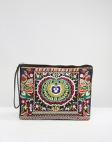 Glamorous Embroidered Zip Top Pouch