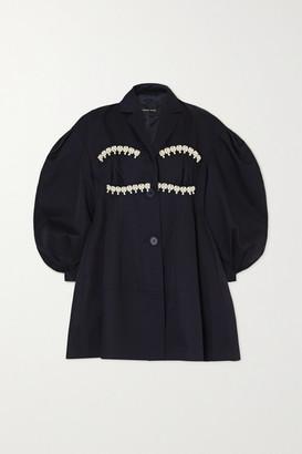 Simone Rocha Faux Pearl-embellished Cotton-twill Jacket - Navy
