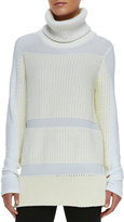 Helmut Lang Smooth/Chunky Knit Turtleneck Sweater