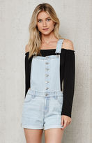 PacSun Button Blue Exposed Button Denim Shortalls