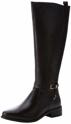 Dune London Dune Ladies Women's True Double Strap Knee High Boots Size UK 3 Black Flat Heel Riding Boots