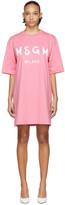 MSGM Pink Artist Logo T-Shirt Dress