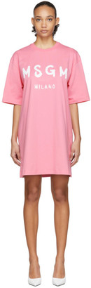 MSGM Pink Artist Logo T-Shirt Dress