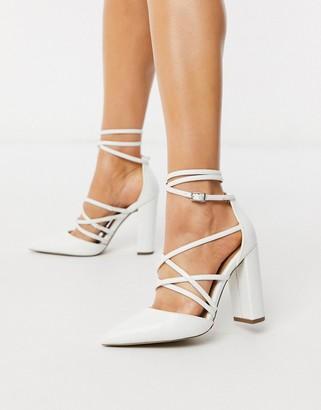 ASOS DESIGN Pick Me Up high block heels in white