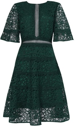 True Decadence Dark Green Lace Cut Work Midi Dress