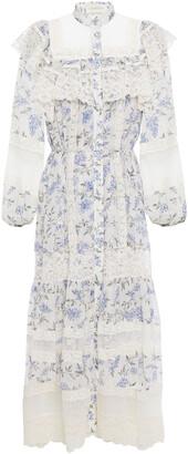 Zimmermann Corded Lace, Point D'esprit And Floral-print Georgette Midi Dress