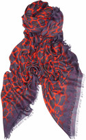 Leo leopard-print modal and cashmere-blend scarf