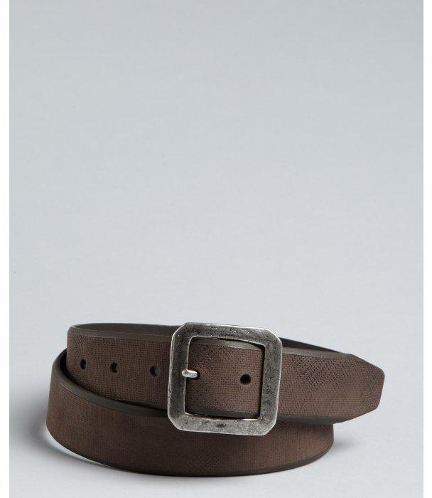 John Varvatos brown scored leather antiqued buckle belt