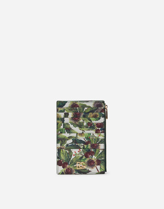 Dolce & Gabbana Large Vertical Credit Card Holder With Chestnut Print On A White Background In Dauphine Calfskin