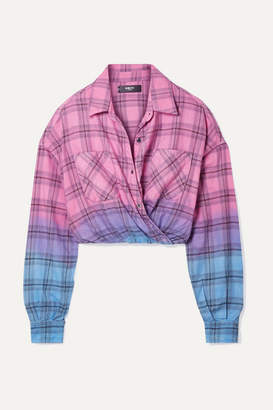 Amiri Wrap-effect Ombre Plaid Cotton-flannel Shirt - Pink
