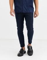 Moss Bros smart pants in navy pinstripe