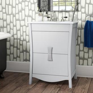"Ebern Designs Karter Wood Glazed Floor Mount 24"" Single Bathroom Vanity Set"