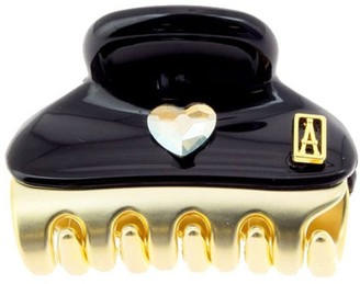 Alexandre De Paris Hair Clip Vendome Coeur Black 3Cm