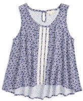 Girl's Tucker + Tate Lace Panel High/low Tank