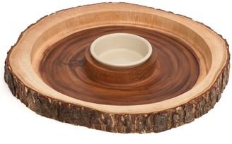 Lipper Acacia Bark Round Dipping Platter with Ceramic Bowl