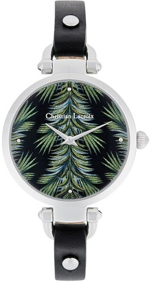 Christian Lacroix Womens Analogue Quartz Watch with Leather Strap CLWE61
