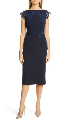 Lela Rose Lace Trim Stretch Wool Sheath Dress