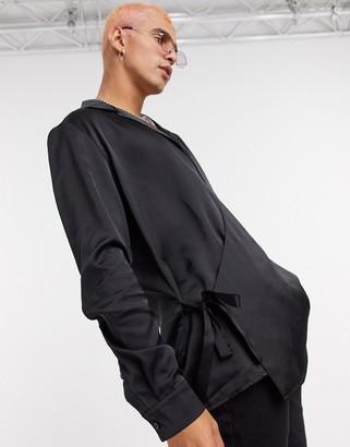 ASOS DESIGN regular fit wrap shirt with side tie in black