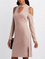 Charlotte Russe Mock Neck Cold Shoulder Keyhole Dress