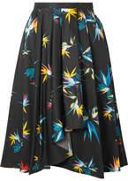 Jason Wu Pleated Printed Cotton-poplin Skirt - Black