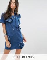 Glamorous Petite Bow Detail Denim Dress