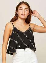 Miss Selfridge Silver embellished cropped camisole top