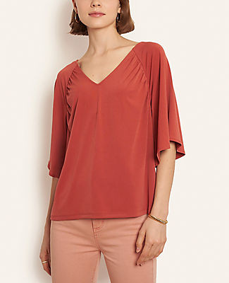 Ann Taylor Matte Jersey Flare Sleeve Top
