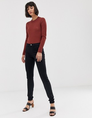 Selected high waisted jeggings-Black