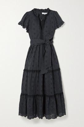 Lug Von Siga - Sofia Belted Tiered Broderie Anglaise Cotton Midi Dress - Black
