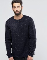 Asos Blocked Cable Sweater in Wool Mix