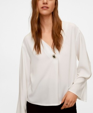 MANGO Women's Jewel Button Blouse