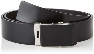 Calvin Klein Men's 3.5cm Adj.leather Plaque Belt