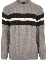 River Island Mens Grey cable knit block stripe knit jumper