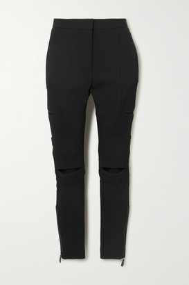 Burberry Cutout Ramie-blend Skinny Pants - Black