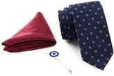 Ben Sherman Woven Floral Tie, Solid Pocket Square, & Lapel Pin Box Set